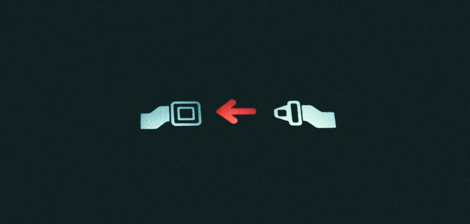 An pictogram of a fastening seat belt