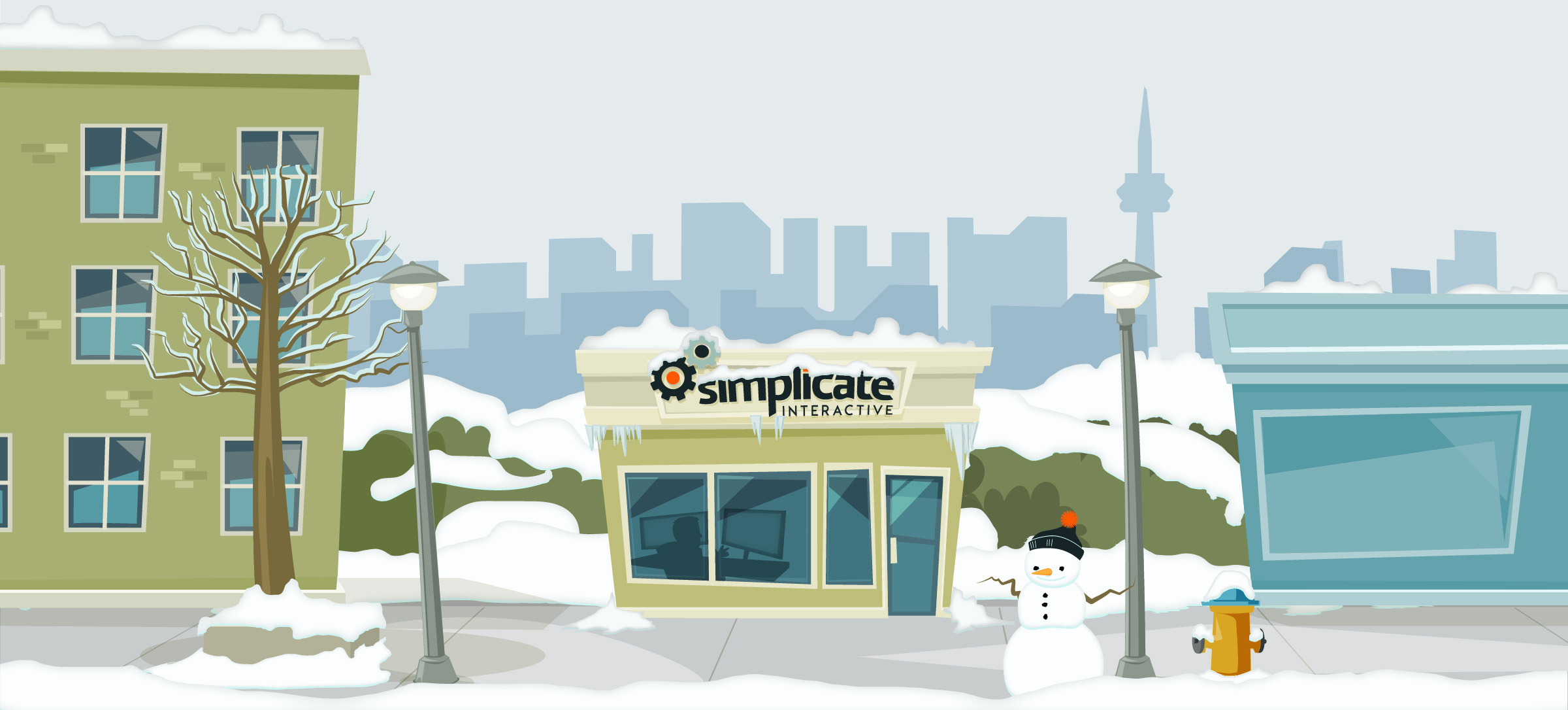 Cartoon drawing of the exterior of the Simplicate office seen from the street with the city of Toronto as the back drop